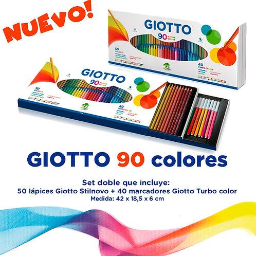 Set Super Giotto x 90 elementos (Fibras y lapices de colores)