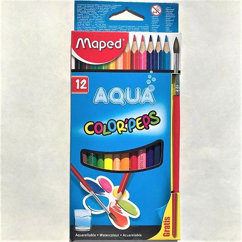 Lapices de Colores Maped Acuarelables x 12 + Pincel