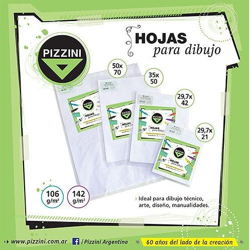 Hojas Pizzini A4 21x29.7 cm  106gr x 10 hojas p/dibujo