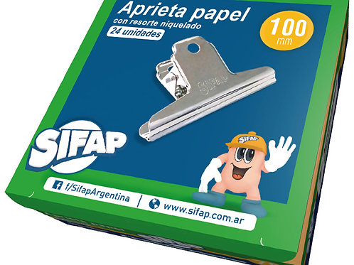 Aprieta papel Sifap  metal 100 mm x 1 u