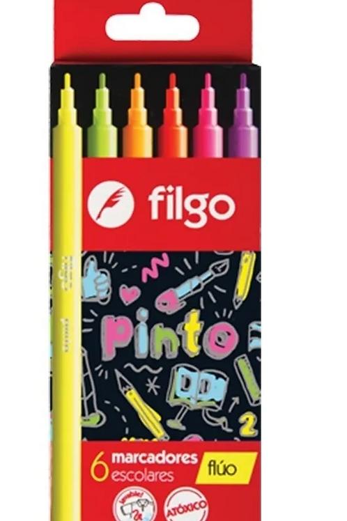 Marcadores Fibras Filgo Fluo x 6 u.