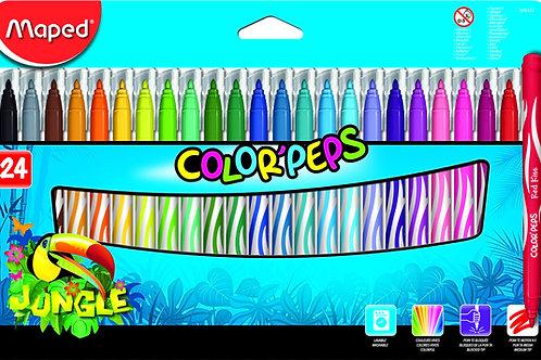 Marcadores Fibras Jungle x 24 u Colorpeps