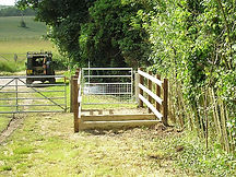 Kissing gate with anti motorbike deterrent installed