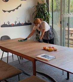 woman cleaner cleaning the kitchen table