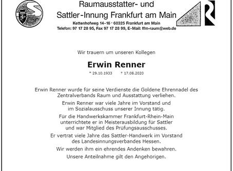 Nachruf Sattler-Meister Erwin Renner