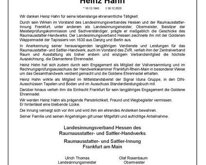 Trauer um Verbands-Ehrenmitglied    Heinz Hahn aus Frankfurt am Main