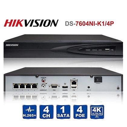 מערכת הקלטה 5 מגה 4 ערוצים מבית NVR HIKVISION