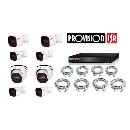 קיט 8 מצלמות אבטחה להתקנה עצמית - 2 מגה פיקסל IP Provision
