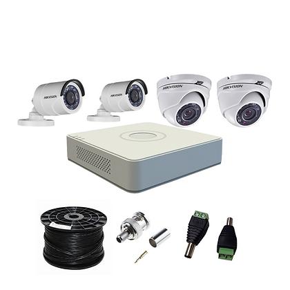 קיט 4 מצלמות אבטחה להתקנה עצמית 2 מגה פיקסל hikvision