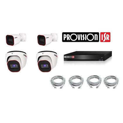 קיט 4 מצלמות אבטחה להתקנה עצמית - 2 מגה פיקסל IP Provision