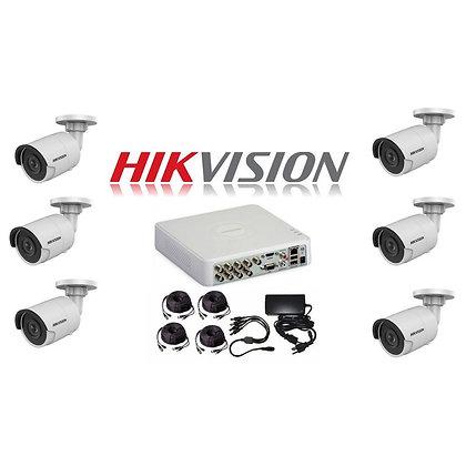 קיט 6 מצלמות אבטחה להתקנה עצמית - 2 מגה פיקסל HIKVISION TURBO