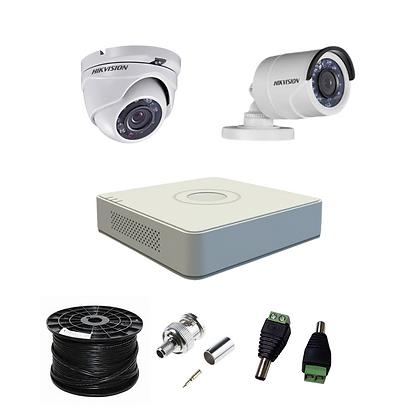 קיט 2 מצלמות אבטחה להתקנה עצמית 2 מגה פיקסל HIKVISION