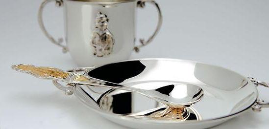 Набор серебряной детской посуды. Подарок на крещение ребенка