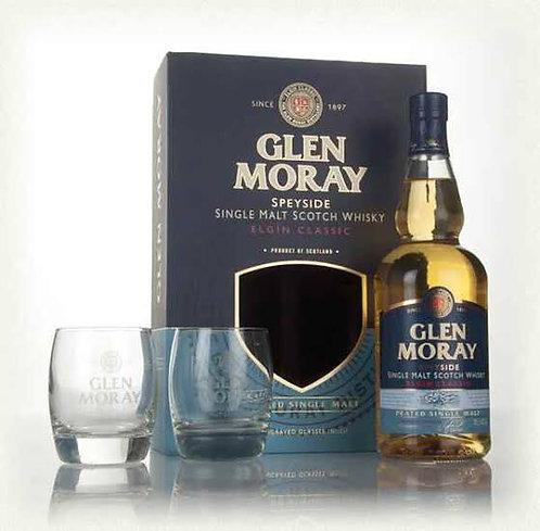 Glen Moray Peated + 2 Glasses 700ml