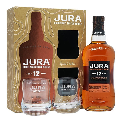Whisky Jura 12 Yers 700ml+ 2 copos