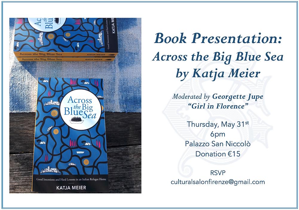 Book presentation flyer Florence cultural salon