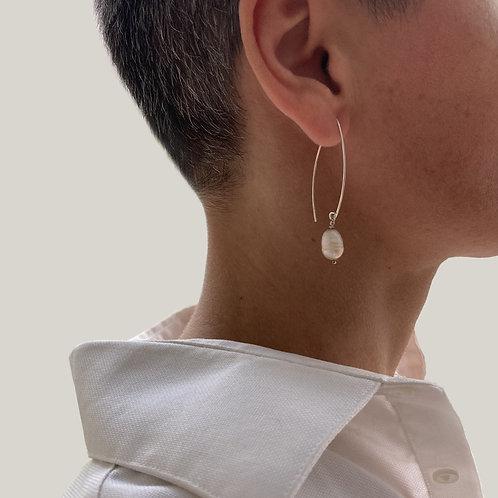 Boucles d'oreilles argent 925, perle blanche.