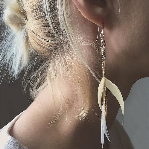 Boucles d'oreilles Clara /plumes vanille