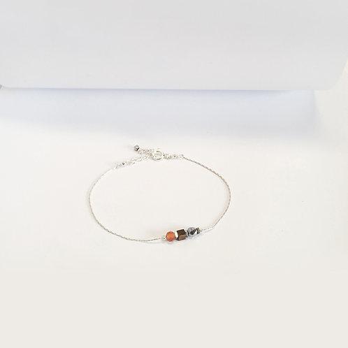 Bracelet 3 pierres / cornaline