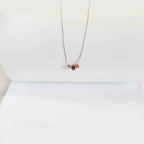 Collier 3 pierres / cornaline
