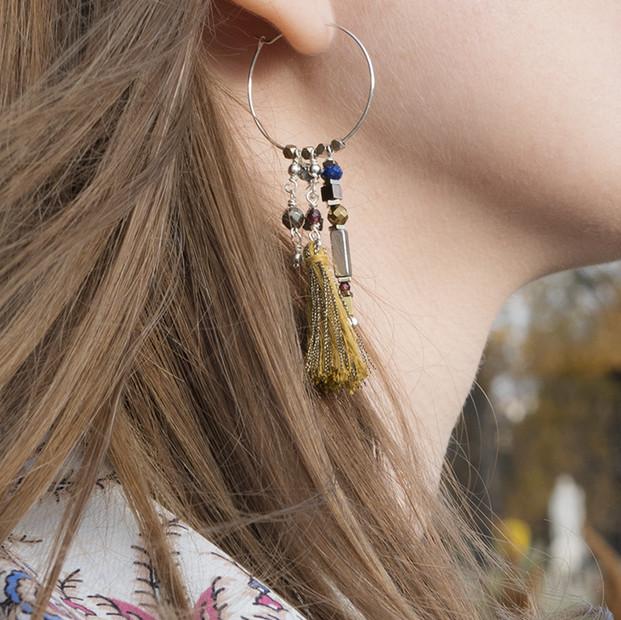 Boucles d'oreilles boho en argent 925 et pierres fines.