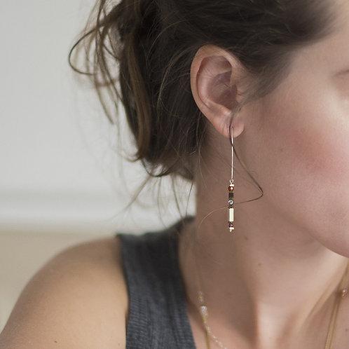 Boucles d'oreilles CELIA S argent, pierres fines
