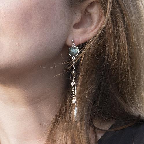 Boucles d'oreilles Emy en argent 925 et lagradorite.