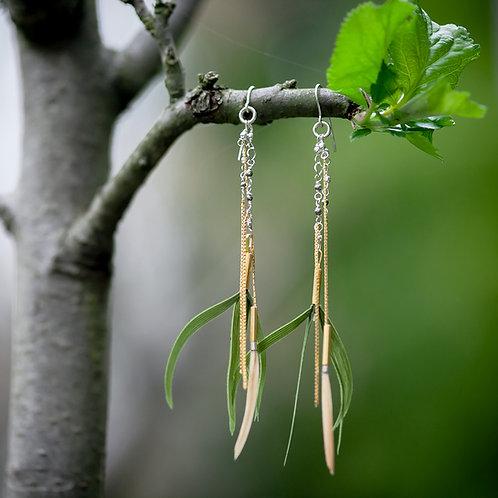Bucles d'oreilles Klara plumes vertes
