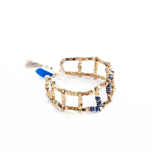 Boucles d'oreilles IRIS bleu, en argent 925, péridot et hématites teinté.