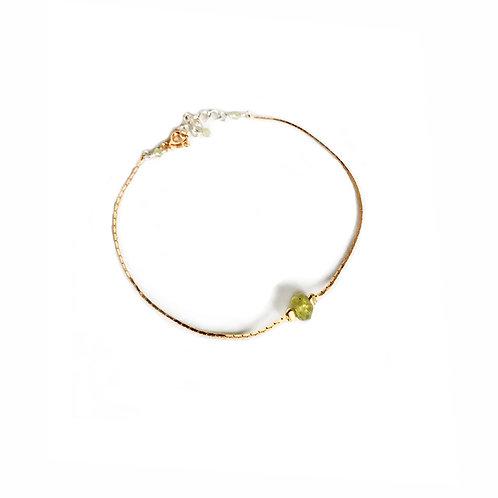 Bracelet en vermeil jaune, argent 925 et péridot.