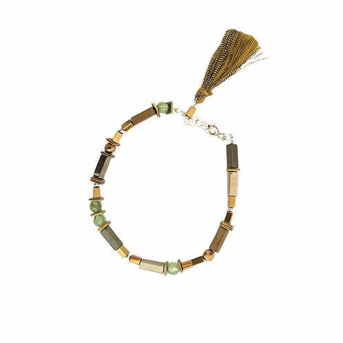 Bracelet Ada / vert en argent 925, péridot et hématite teintée.