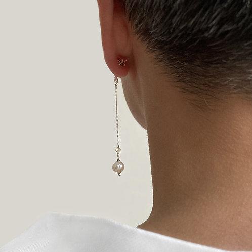 Boucles d'oreilles longues argent 925, perle blanche.