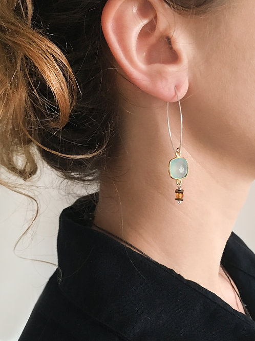Boucles d'oreilles Mag / bleu calcédoine