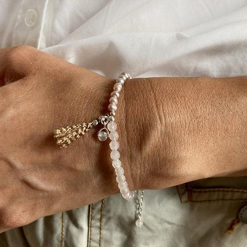 Bracelet quartz rose, perles rose.
