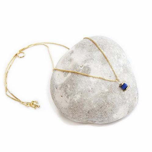 Collier Iris / lapis-lazuli, argent 925 doré à l'or fin