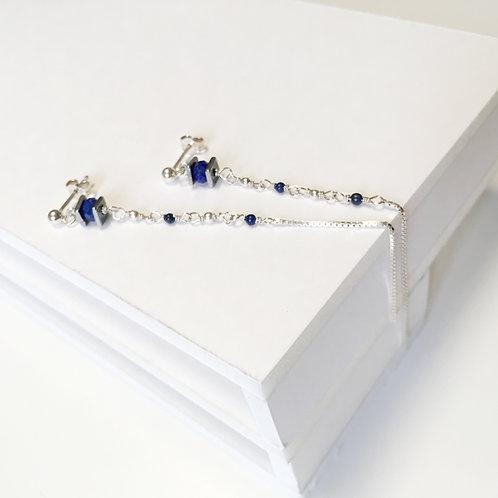 Boucles d'oreilles IRIS L-bleu en argent 925, lapis-lazuli,hématite teinté.