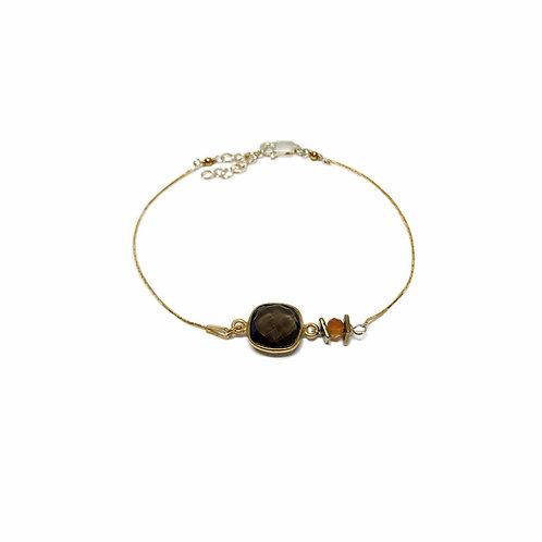 Bracelet Mag en vermeil et pierre fine quartz fumé