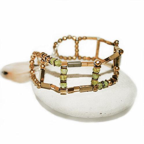 Bracelet IRIS - vert G, péridot, hématite teinté