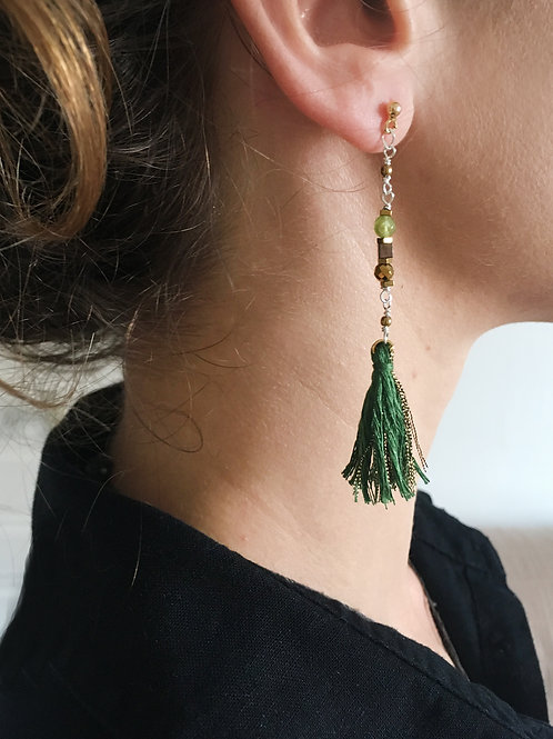 Boucles d'oreilles Karo / vert.