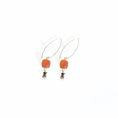 Boucles d'oreilles Mag /orange cornaline