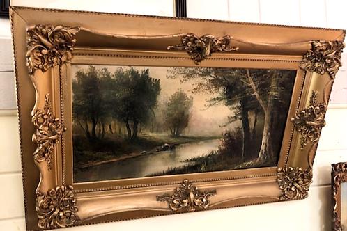 Antique F. Matzow Oil on Canvas of Landscape