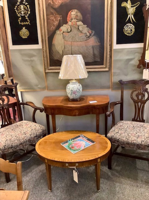 Group Photo Of Items, Chinese Lamp, Card Table and Coffee Table