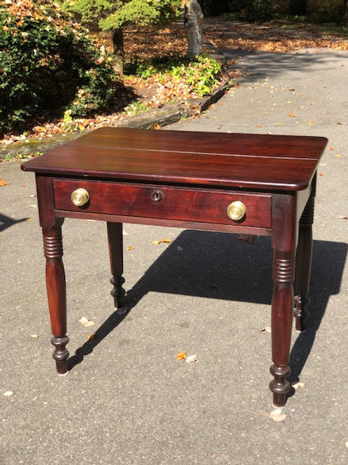 Late 19th C. Solid Mahogany One Drawer Writing Desk