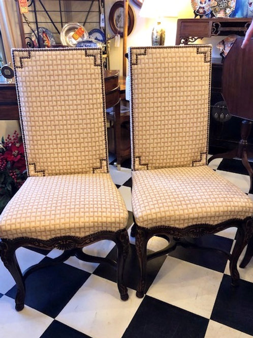 Pair of Upholstered Baker Furniture Dining Chairs