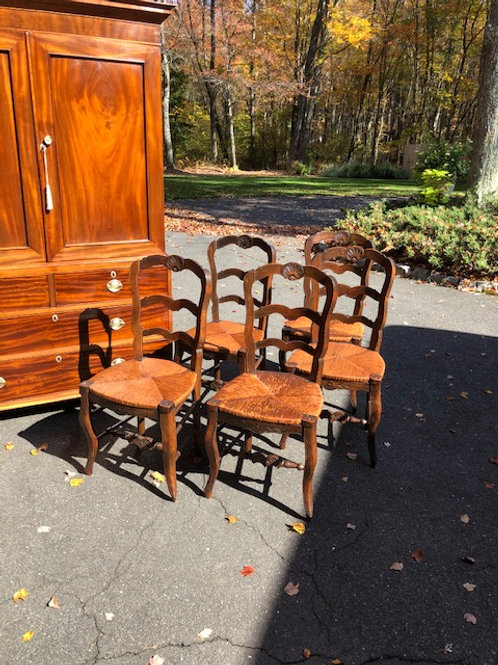 Set of 5 French Style Fruitwood Dining Side Chairs