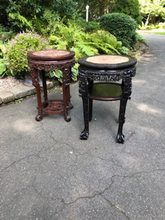 Two Large Early 19th Century Carved Plant Stands w/ Marble Inset