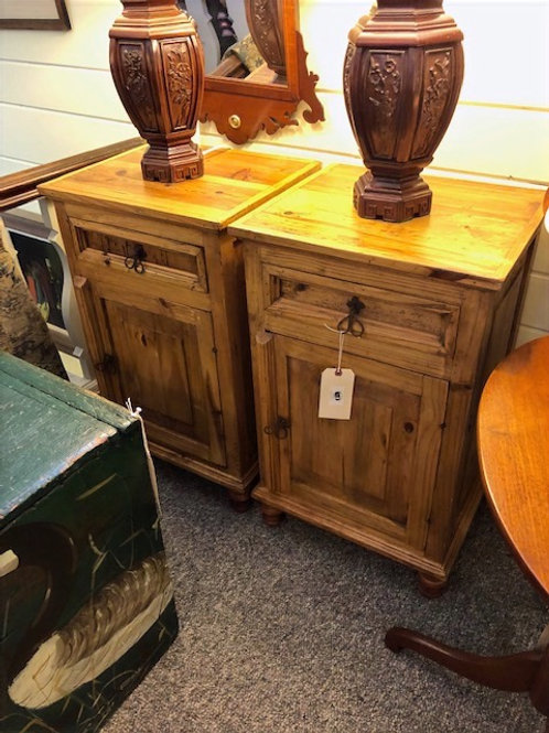 Pair of Pine & Wrough Iron Nightstands/Commodes