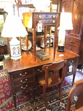 Large Flat Top Writing Desk with Leather Top