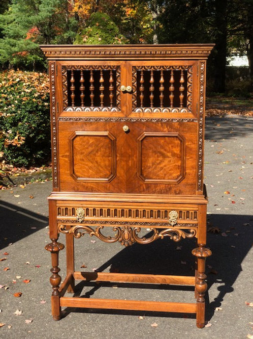 Antique Walnut Drop Front Secretary Desk/Cabinet