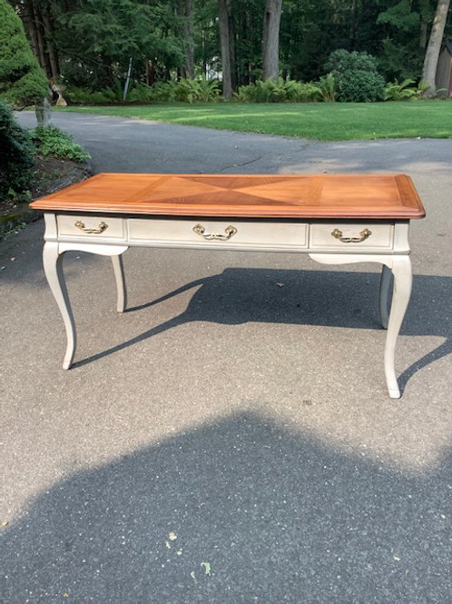 Very Nice Looking Flat Top Desk in Gray Paint with Cabriole Legs